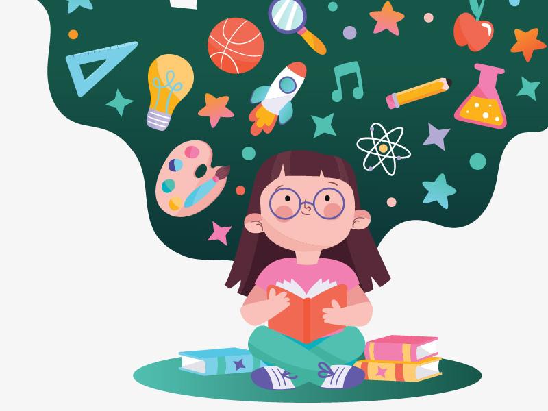 dziewczynka czytająca książkę