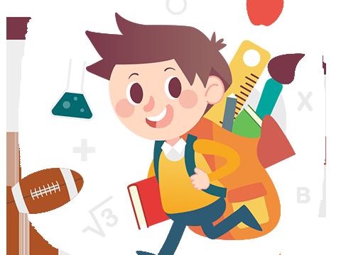 Ilustracja dziecka biegnącego do szkoły