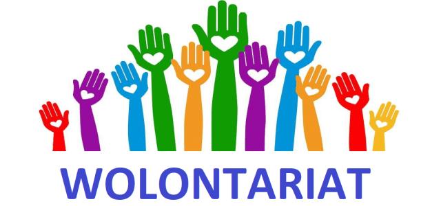 Kolorowe ręce i napis wolontariat