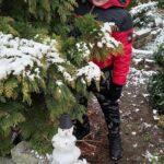 Dziecko, które patrzy za drzewa na śniegowego bałwanka