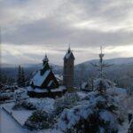 Zima widok - Karpacz kościół Wang