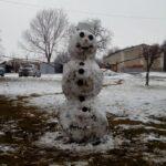 Zima widok - bałwan