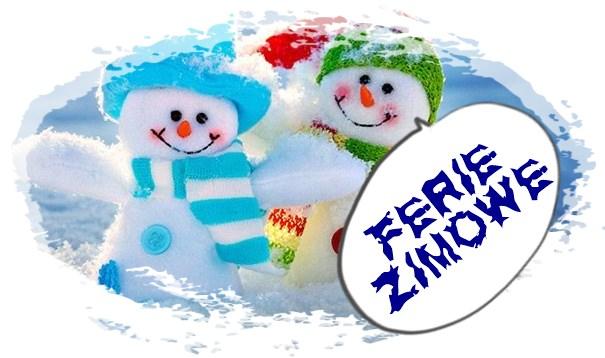 Obrazek - dwa bałwanki i napis Ferie Zimowe