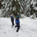 Zima - dzieci bawiące się na śniegu