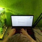 Uczeń przy komputerze - pisanie zadania